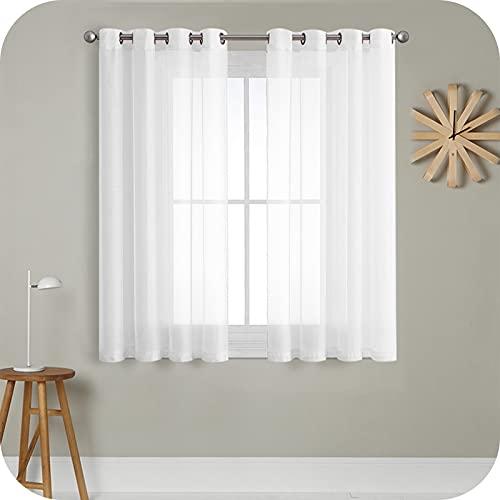 MRTREES Cortina para Ventana Dormitorio Translúcidas Visillos Paneles para Ventanas Sala para Niños Sala Comedor 2 Piezas 140×145cm Blanco