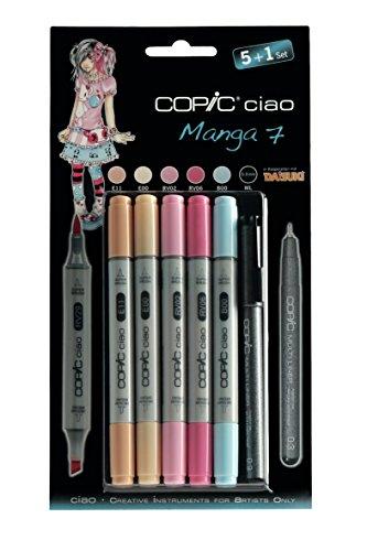 Copic Ciao - Juego de rotuladores (5 unidades, doble punta, incluye rotulador de punta fina 0,3 mm), tonos brillantes