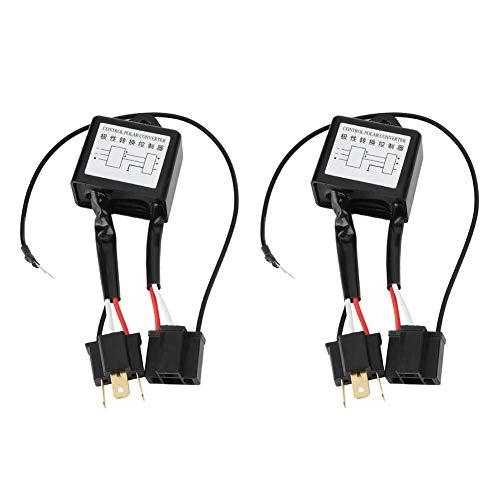 Terisass Convertidor Polar Negativo, Polaridad Invertida 2 uds Convertidor LED Negativo Interruptor Polar Negativo Adaptador de Arnés Convertidor de Polaridad Inversa para H4