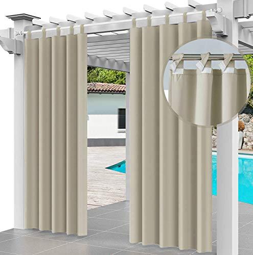 Cortina para Exteriores Impermeable 220 x 155 cm, para Evitar el Agua, Resistente al Viento, para Patio, Porche Frontal, pérgola, casa de Playa, (1 Panel) Beige [129]