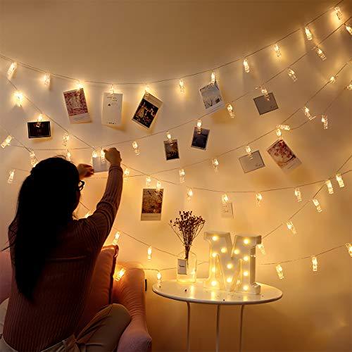 Cadena de luces LED para fotos, 6 m, 40 luces LED, clip de fotos, cadenas de luces, interiores, Navidad, habitación de los niños, exteriores, fiestas, bodas, funciona con pilas, blanco cálido