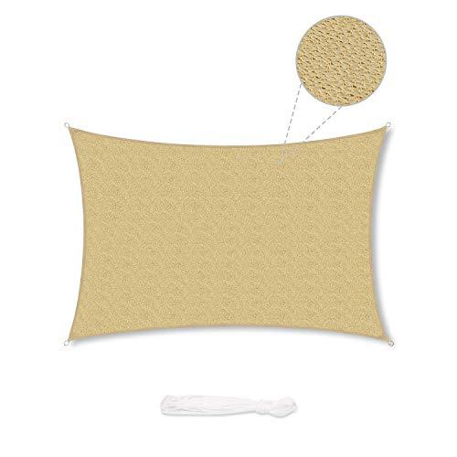 Sekey Toldo Vela de Sombra Rectangular HDPE Protección Rayos UV Resistente Permeable Transpirable para Patio, Exteriores, Jardín, 2× 3m Arena, con Cuerda Libre