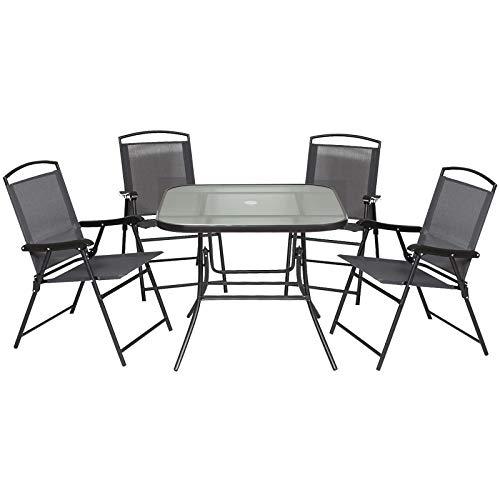 Outdoor Juego de Comedor de Jardín de 5 Piezas Sillas y Mesas Plegables Muebles Exteriores para Terraza con Orificio para Sombrillas