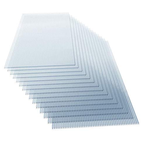 Jago - Planchas alveolares de policarbonato, 15 unidades, 4 mm de grosor, 121 x 60,5 cm, 11 m2, resistentes a los rayos UV, transparentes, placas de doble puente para invernadero, jardinería