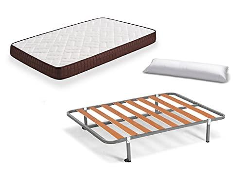 HOGAR24 ES Cama Completa - Colchón Viscobrown Reversible + Somier Basic + 4 Patas + Almohada Fibra, 105x190