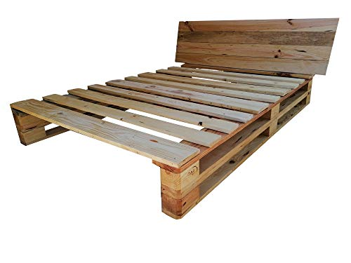 DydayaHome - Cama de palets color madera Barnizada para colchón de 135 x 180, 190, 200 - Somier & Somieres & Base & estructuras de camas con pallet pallets pales