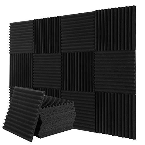 Donner Paneles de Espuma Acústica 12 Piezas, Paneles Acústicos para Estudios, Estudios de Grabación, Oficinas, Sala Acústica, Insonorizacion acustica pared, 30 x 30 x 2,5 cm