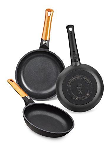 BRA Efficient Orange - Set de 3 sartenes, aluminio fundido con antiadherente tricapa libre de PFOA, para todo tipo de cocinas, inducción y vitrocerámica,lavavajillas, 18-22-26 cm [Amazon Exclusive]