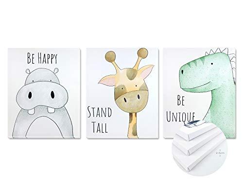 Pack 3 Tríptico cuadros con marco decorativos de lienzo impreso infantiles para decoración pared habitación dormitorio niños con bastidor de madera - 3 cuadros tamaño 40x50cm (Be Happy)