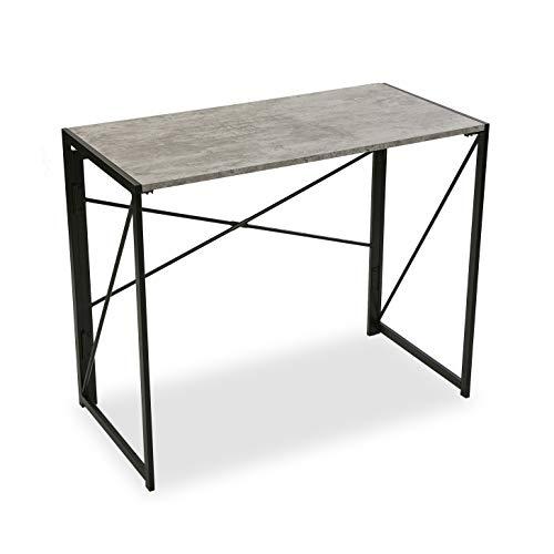 Versa Mesa de Escritorio para Ordenador Despacho Plegable Jack, Madera, 74 x 45 x 90 cm, Gris y Negro