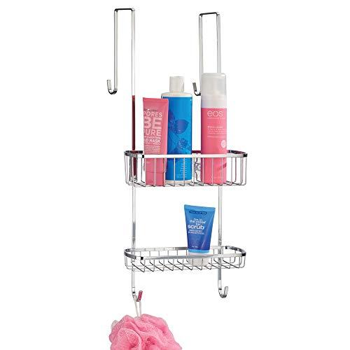 mDesign Estantería de ducha para colgar sobre la mampara – Práctico colgador para ducha de acero resistente sin taladro – Cestas metálicas con ventosas para los accesorios de ducha – plateado