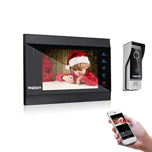 TMEZON 7 Pulgadas WiFi Inteligente IP Video Sistema de intercomunicación de teléfono de Puerta Sistema de Entrada de Timbre, 1080P New version