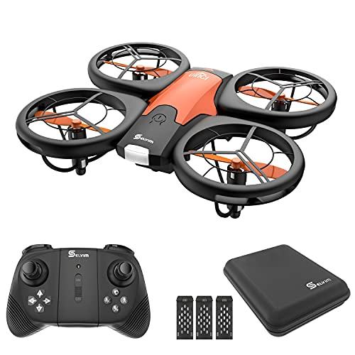 Selvim Mini Drone para Niños, Dron con 3 Baterías, Larga Duración de 24 Minutos, Mini Helicóptero Quadcopter para Principantes, Control Remoto, con Estuche de Transporte