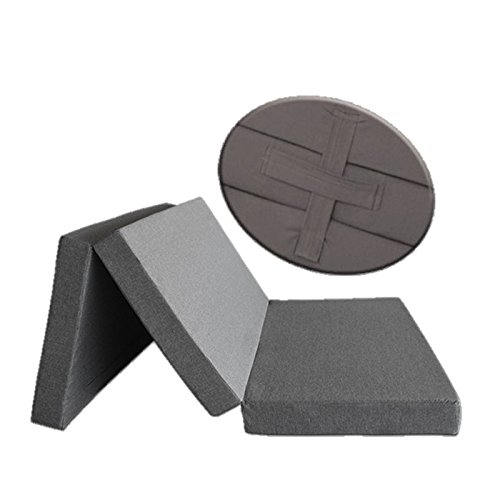 Ventadecolchones - Colchón Plegable con 3 cm de Viscoelástica con Cierre y Asa 120 cm x 190 cm x 10 cm con Espuma en Densidad 25kg/m3 (extrafirme) en Loneta Premium Gris
