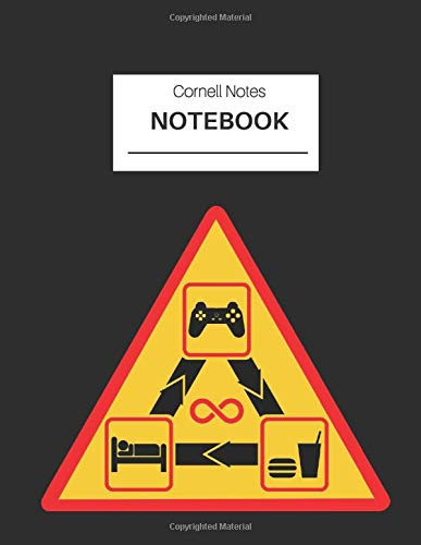 Gamer Cornell Notes Notebook - Eat Sleep Game Repeat icons: Effective note taking system for back to school, textbook notes, work meetings, conference notes