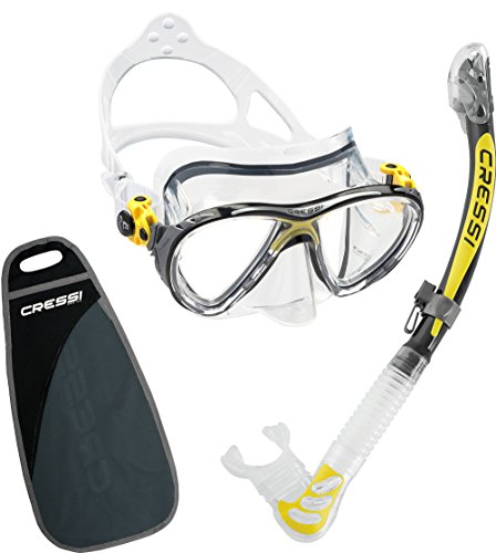 Cressi Big Eyes Evolution & Kappa Ultra Dry Schnorchel - Pack de snorkel ( tubo y gafas), color amarillo