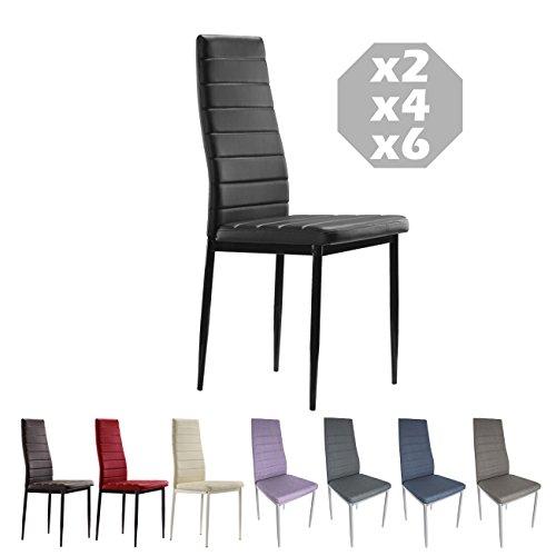 MOG CASA - Juego de 6 sillas de Comedor con Patas metálicas y tapizadas de Piel sintética alcochado - Dimensiones 42x42x98cm - (Negro, 6)