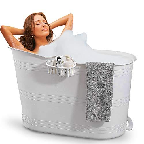 FlinQ Bañera Blanco | Bañera portátil para adultos | Ideal para cuartos de baño pequeños | Bañera Adultos XL y Niños | Bañera de exterior | Bañera de plástico portátil para ducha