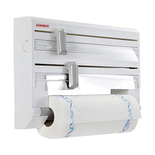 Leifheit Portarrollos de pared Parat ComfortLine para 3 rollos, porta rollos con cuchillas para un corte limpio, portarrollos de cocina de plástico