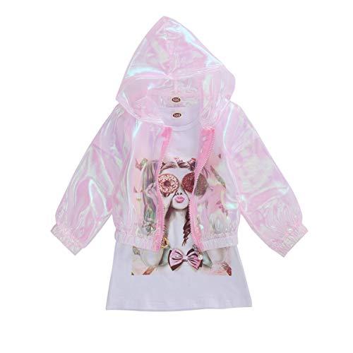 Conjunto de ropa de verano para niñas de 2 piezas de algodón blanco de manga corta dibujos animados Imágenes impresas falda y manga larga Cardigan protección solar sudadera con capucha trajes