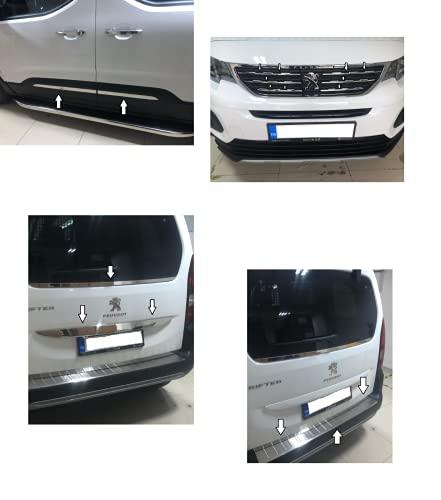 Boa Line Auto - Juego completo de accesorios cromados 100% acero inoxidable, compatible con Peugeot Rifter 2018