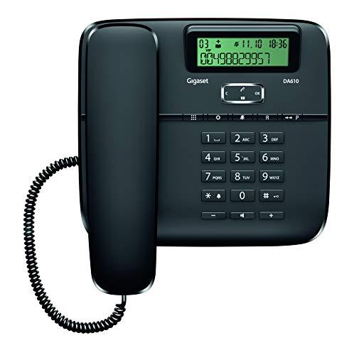 Gigaset DA610 - Teléfono Fijo de Sobremesa con Manos Libres e Identificación de Llamada, Plástico, 61 x 178 x 196 mm, Color Negro
