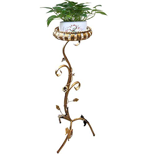 Porta macetas Estilo Flor Dorada Dimensiones 84 x 31 cm, Macetero Metal de Arte, Soporte de macetas,Jardinera, Soporte jardineria.