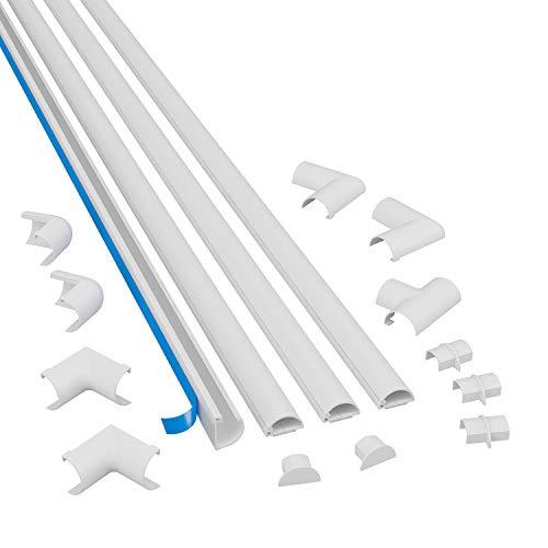 D-Line Micro+ 2010KIT001, Canaletas adhesivas de PVC para cables, Multipack de 4 piezas (20x10 mm) de 1 metro de longitud en color blanco, Solución para organizar, proteger y cubrir cables