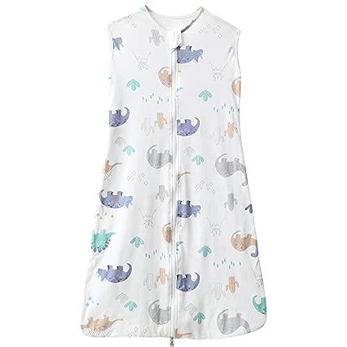 Saco de dormir para bebé, verano, para niña, primavera, recién nacido, de algodón, 0,5 tog. (110 cm (18-36 meses), diseño de dinosaurios, color blanco