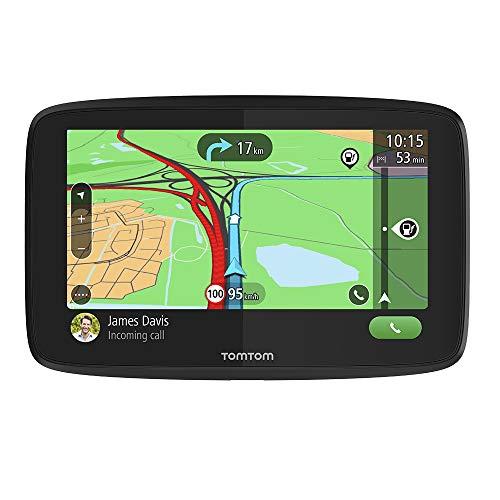 TomTom GPS para coche GO Essential, 5 pulgadas, con tráfico y prueba de radares gracias a TomTom Traffic, mapas de la UE, actualizaciones a través de WiFi, llamadas manos libres, soporte Click-Drive