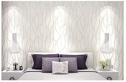 Moderno papel pintado pared No Tejido Rollo Rayado Efecto Blanco Plata No-Tejido de Papeles Muro Decoración de Pared para Dormitorio TV Telón de Fondo 0.53x10m