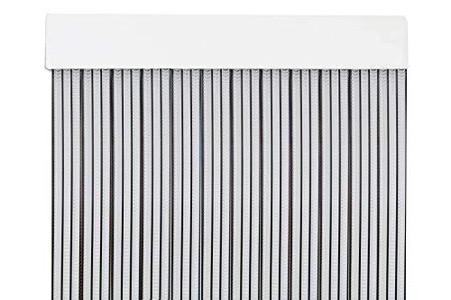 MERCURY TEXTIL Cortina para Puerta Tiras PVC 210x90cm,Cortina para Puerta Exterior (Transparente+Filo Negro P4)