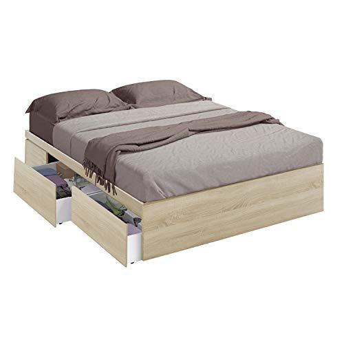 Habitdesign 006088F- Cama con 4 cajones para somier de 150x190, Dimensiones Exteriores 156x196x37 cm Altura (Roble Canadian)
