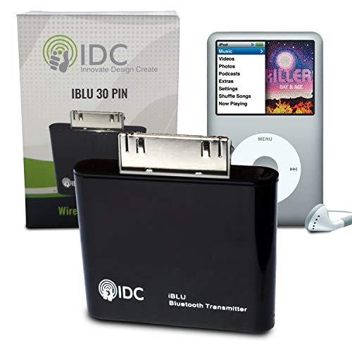 IDC  i-BLU Bluetooth iPod transmisor - convierte tu iPod Bluetooth al corriente su música inalámbricamente a su altavoz o auriculares. Funciona en todos los iPods no Bluetooth incluyendo iPod Classic, iPod Nano, iPod Touch, Ipod Shuffle, Ipod Mini, Ipod Video. Compra de una empresa de Reino Unido especializada (negro)