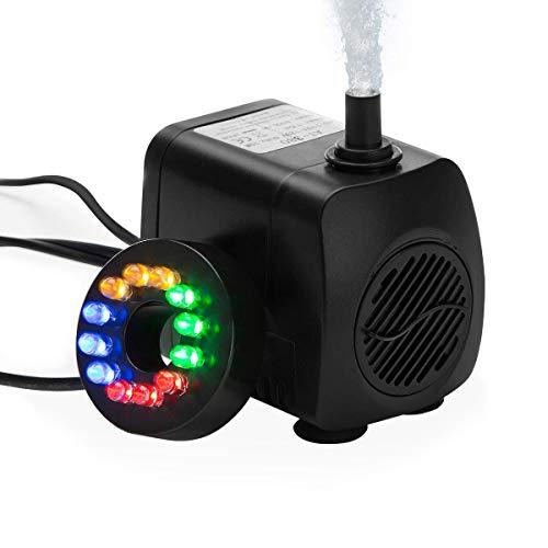 HOTSO Bomba de Agua Sumergible, Mini Caudal de Agua 10W Bajo Consumo 400L/H Eficiente+LED Luz de 12 Bombillas para Pecera Acuario Estanque Fuente Interior Sistemas Hidropónicos