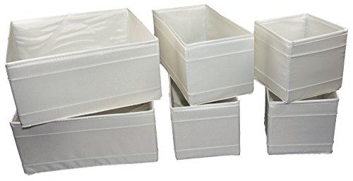 Ikea–Conjunto de 6Cajas de almacenaje SKUBB en 3tamaños–Color Blanco