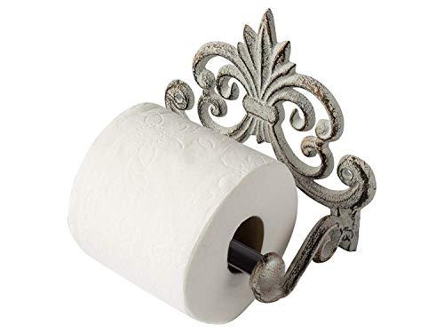 Comfify Fleur de lis-Hierro Fundido Toiler de pañuelos de Papel, montado en la Pared, Metal, Resistente, rústico, Vintage, Reciclado, Decorativo Regalo Idea-17.14x 10.79x 15.87cm