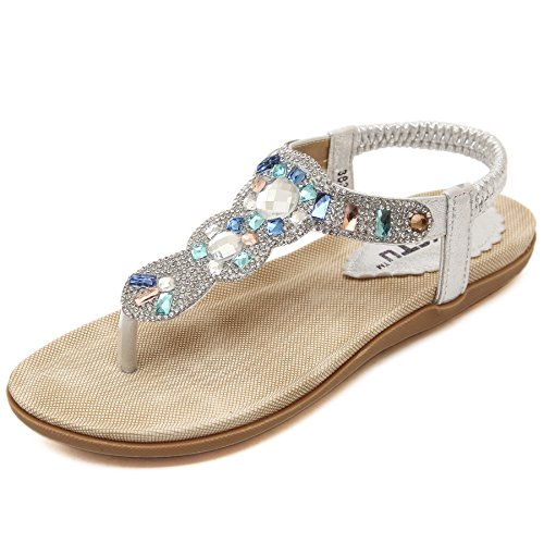 Morbuy Mujer Sandalias Planas,Bohemia diamante de imitación Verano Zapatos de Playa Roma Sandalia Informal Cómodo Y Elegante 35-41 para Mujer De Gran TamañO Sandalias (37 EU = 235 mm, Plata)