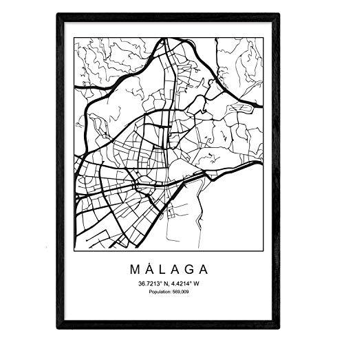 Nacnic Lámina Mapa de la Ciudad Malaga Estilo nordico en Blanco y Negro. Poster tamaño A3 Sin Marco Impreso Papel 250 gr. Cuadros, láminas y Posters para Salon y Dormitorio
