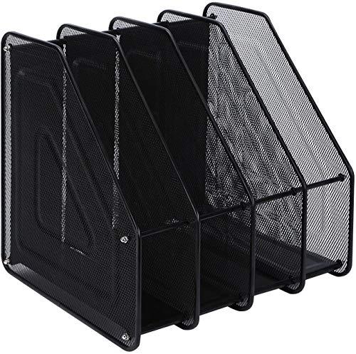 Compartimentos Revistero archivador de Malla metálica Revistero archivador 4 compartimentos Archivadores de revistas/Estante para escritorio (4Archivos, Negro)