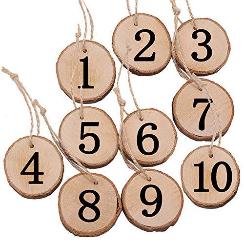 inherited 10pcs Adorno de Madera rústico para Colgar, Números de Madera para Mesas Decoración Bodas, en la Mesa de Boda, decoración del hogar, números de 1 a 10