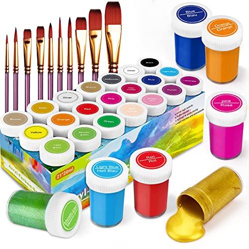 RATEL Pinturas Acrílicas, 31 Conjunto de Prima Caja de Pintura Acrílica Incluso 21 x 20 ml de Pigmento Acrílico +10 Pincel- Colores Vibrantes Pintura Acrilica para Papel, Roca, Madera, Cerámica