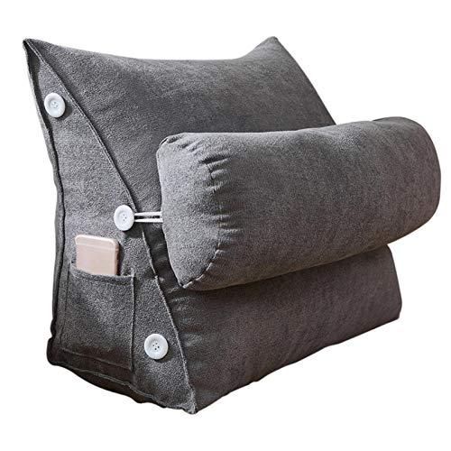 Cojín de lectura triangular con bolsillos laterales, cojín de posicionamiento del respaldo de cabecera grande, cojín de cuña para sofá cama litera con funda extraíble