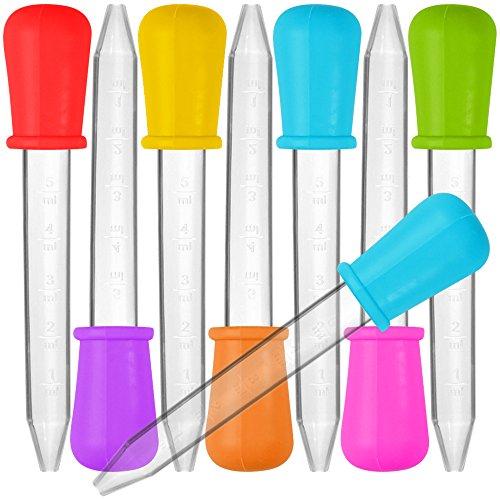 Senhai - Pipetas de silicona y plástico, 8 unidades, cuentagotas de transferencia, con punta de bombilla, para dulces, aceite, cocina, niños, en 7 colores