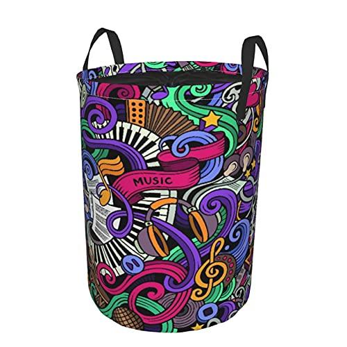 Cesto de lavandería redondo Grande con asas,con tema Sic,instrumentos abstractos dibujados a mano,micrófono,batería,teclado,Stradivarius,con cordón Cesto de lavandería plegable,impermeable,19'X14'