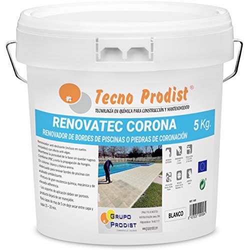 RENOVATEC CORONA de Tecno Prodist - ( 5 kg ) BLANCO Pintura renovación bordes de piscinas o piedra de coronación - Antideslizante - Antialgas - Fácil Aplicación
