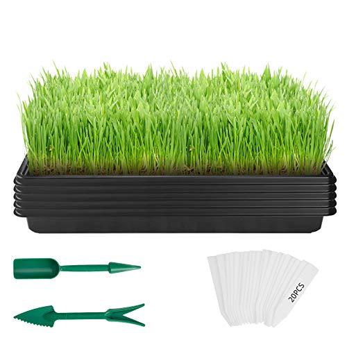 ANSUG 5 Paquetes de bandejas de Semillas de Plantas de 10'x 20', bandejas de Cultivo de plástico Material Resistente y Resistente Bandeja de Inicio de plántulas Grande para la germinación de Plantas