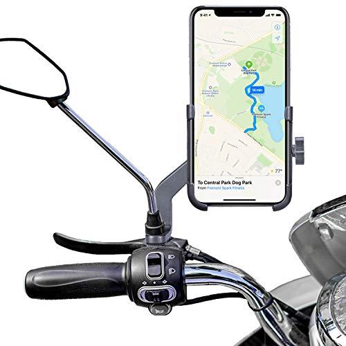 Homeet Soporte Móvil Moto, Soporte Telefono Motocicleta Retrovisor Universal Aleación de Aluminio 360 Rotación Soporte Moto Retrovisor Antideslizante para 4.7' a 6.8' Telefono y GPS