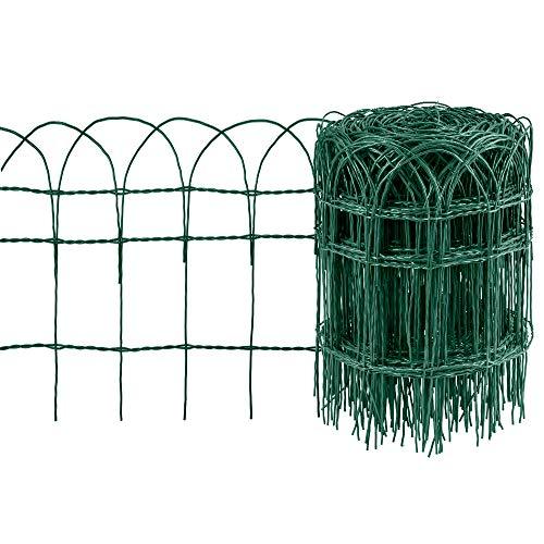 Amagabeli 0.4M x 25M Valla de Borde de jardín Verde 2.95 mm RAL6005 Valla de Malla de Alambre de Metal Recubierto de PVC a Prueba de Herrumbre para Valla de Animales de Flores al Aire Libre HC02
