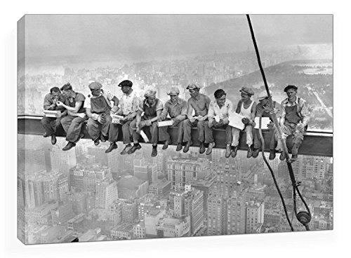 BaikalGallery Lienzo Foto OBREROS EN Nueva York Rockefeller Center 1932 Tamaño 50x70cm Impreso en Canvas Tensado en Bastidor de 2 cm de Grosor. Acabado Mate. Muy Ligero.